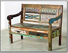 Holz-Bank in Handarbeit aus Alt-Holz hergestellt mit 2 Schubladen und Brettsitz 120x50x95 cm   Rivership   Bunte Sitz-Bank lackiert mit starken Gebrauchsspuren im Shabby Chic-Look 120cm x 50cm x 95cm
