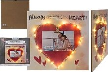 Holz-Bild Rotes Herz mit Clip-Halter und 18 LED