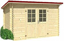 Holz-Blech Gartenhaus Jever 1, mit Blechdach dunkelro