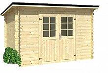 Holz-Blech Gartenhaus Jever 1, mit Blechdach schwarz