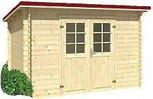 Holz-Blech Gartenhaus Jever 3, mit Blechdach dunkelro