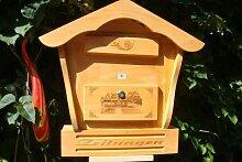 Holz-Briefkasten, Briefkasten mit Holz - Deko HBK-SD-HELLBRAUN aus Holz hellbraun braun XXL Briefkästen Postkasten Spitzdach