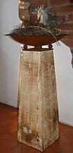 Holz Deko Säule flambiert mit rostiger