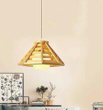 Holz Dekoration Pendellampe Glas Lampenschirm