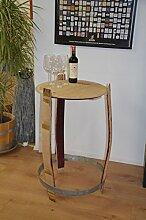 Holz-Design Stehtisch aus echtem Weinfass,