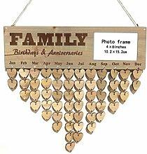 Holz DIY Kalender Hanging-Plakette Photo Frame