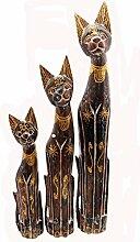 Holz Figur Dekoration Katze Bali Deko Garten Wohnung Statue Tier Tiermotiv Katzenliebhaber Geschenk - Gall&Zick (Mittel)