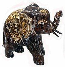 Holz Figur Elefant Dekoration Bali Deko Garten Wohnung Statue Tier Tiermotiv Geschenk - Gall&Zick (Groß)