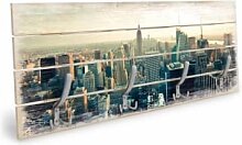 Holz Garderoben - Holzgarderobe Skyline von New York City - Panorama