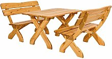 Holz Gartengarnitur Sitzgruppe VOLDA 3 teilig 2