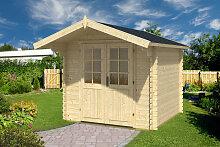 Holz-Gartenhaus mit Vordach Lily M 5m² / 28mm / 2,5×2,5