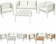 Holz Gartenmöbel Sitzmöbel Sitzgruppe Sitzgarnitur Gartenset Tisch 1 Bank 2 Sessel Akazie Massivholz Garten Terrasse 3 Farben Kingpower, Farbe:Weiß