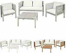 Holz Gartenmöbel Sitzmöbel Sitzgruppe Sitzgarnitur Gartenset Tisch 1 Bank 2 Sessel Akazie Massivholz Garten Terrasse 3 Farben Kingpower, Farbe:Grau