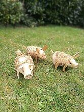 Holz Gartenschwein 17 cm Gartendeko