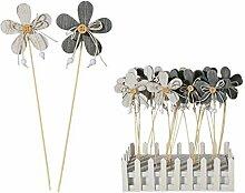 Holz Gartenstecker Motiv Blume mit Knopf Pflanzstecker Beetstecker Gartendeko