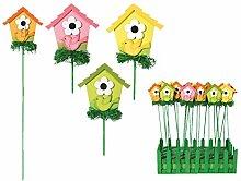 Holz Gartenstecker Motiv Vogelhaus Pflanzstecker Beetstecker Gartendeko