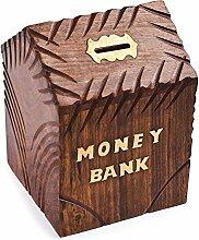 Holz Geld Bank, Hütte Form Spardose, Design mit Key Lock Münze Aufbewahrung Bank