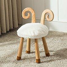 Holz Hocker Fuß Hocker Stühle aus Holz für Kinder Stuhl Umweltschutz Kind Hocker mit Cartoon Tier Muster Tuch Abwaschbar kreativen kleinen Hocker Haushalt Runde Hocker, Schafe