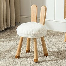 Holz Hocker Fuß Hocker Stühle aus Holz für Kinder Stuhl Umweltschutz Kind Hocker mit Cartoon Tier Muster Tuch Abwaschbar kreativen kleinen Hocker Haushalt Runde Hocker, Kaninchen