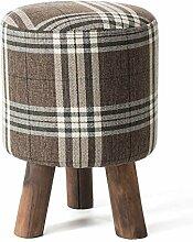 Holz Hocker Fuß Hocker Stühle Holz Sofa Hocker Hocker Wohnzimmer weichen Stuhl Moderne, einfache Gewebe kann gewaschen und Waschbar weich und komfortabel, ein Brown Plaid.