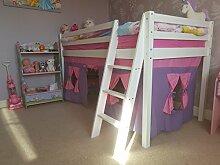 Holz Kabine Etagenbett Hochbett mit Unter Bett Zelt und Matratze für Kinder Kinder Jungen und Mädchen Bett, Kinder Möbel, dauert 3Ft Standard Single Matratze With Purple Pink Ten