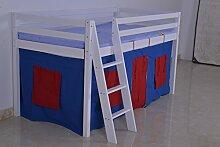Holz Kabine Etagenbett Hochbett mit Unter Bett Zelt und Matratze für Kinder Kinder Jungen und Mädchen Bett, Kinder Möbel, dauert 3Ft Standard Single Matratze With Blue Red Ten