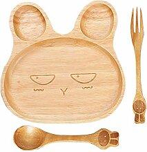 Holz Kinderteller, Baby Teller mit Löffel und