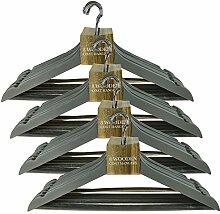 Holz Kleiderbügel für Erwachsene Mantel Kleidung Hose Garment zum Aufhängen mit Bar Home Kleiderschrank Aufbewahrung–Grau, 4er-Packung