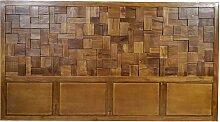 Holz Kopfteil aus Teak Massivholz 220 cm breit