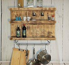 Holz Küchenregal für Gewürze mit Topf Halter