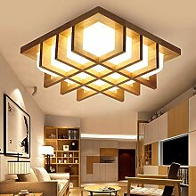 Holz Lampe LED Deckenleuchte Flurlampe Eckig