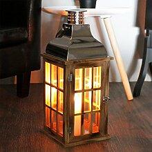 Holz Laterne mit Metalldach Holzlaterne Windlicht 20x20x47cm Stalllaterne Leuchte Kerzenhalter Kerzenleuchter Teelichthalter Dekoration Braun