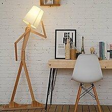 Holz LED Stehlampe Stehleuchte modern Deckenfluter mit Leselampe LED Standleuchte Leinen Weiß schwenkbar für Schlafzimmer Wohnzimmer Arbeitszimmer