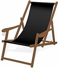 Holz-Liegestuhl mit Armlehne und Getränkehalter,