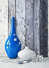 Holz-Muster-Tapete Vlies Blau Edel | schöne edle Tapete im Holzwand-Design | moderne 3D Optik für Wohnzimmer, Schlafzimmer oder Küche inkl. Newroom-Tapezier-Profibroschüre mit super Tipps!