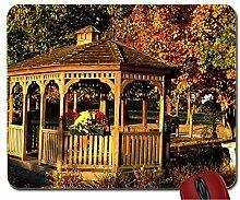 Holz Pavillon in Herbst Laub Maus Pad Computer Mauspad