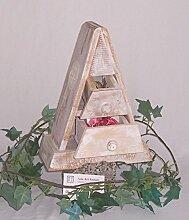 Holz Pyramide 01 weiß 2 Schubladen B 21 x H 29 x T 11 cm