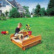 Holz Sandkasten Donald mit klappbarer Abdeckung 1/Stck  ,Länge:100cm ,Breite:100cm ,Höhe:24cm