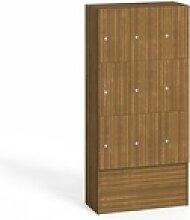 Holz-schließfachschrank, 9 abteile, nussbaum