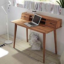 Holz Schreibtisch aus Asteiche Massivholz Aufsatz