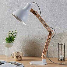 Holz-Schreibtischlampe Shivanja mit weißem Schirm