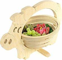 Holz-Schwein Obst-Schale Küche einklappbar Frucht-Korb Fruit-Bowl Pig Gemüse Hell
