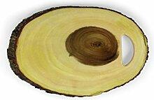 Holz-Servierbrett mit Griff, oval, 46 x 30 cm