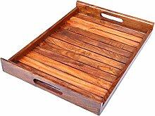 Holz-Serviertablett, Palisander Sheesham Holz Indische Handarbeit für Serviertablett/Esstisch., Palisander, Stil 1, 15x12.5 inch