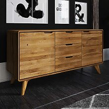 Holz Sideboard aus Wildeiche Massivholz 2 türig