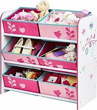 Holz Spielzeugregal AUSWAHL Mädchenregal oder Jungenregal Kinderregal Organizer (Blumen und Schmetterlinge)