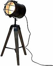 Holz Stativlampe mit Metallscheinwerfer E14 H64cm