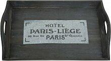 Holz Tablett antik braun mit Schriftzug Hotel Paris