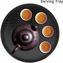 Holz Tablett Runde Platte aus Naturholz Tee