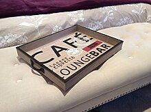 Holz Tablett Rustikaler Shabby Chic Retro Serviertablett Dekoration Schlafzimmer Küche